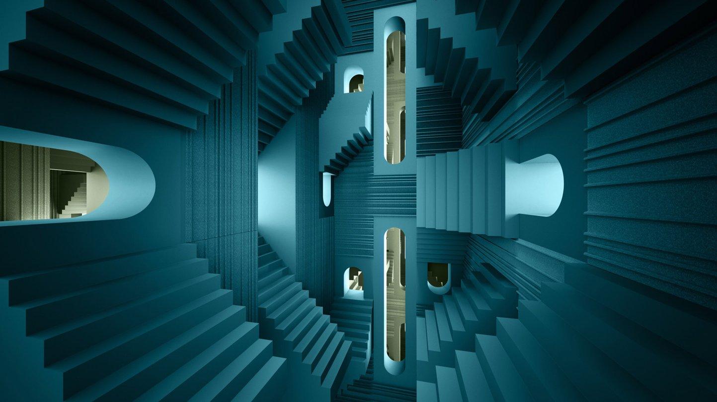 De Vorm Mute Fraction PET Felt Acoustic Panel _Escher_Turquoise_Olive