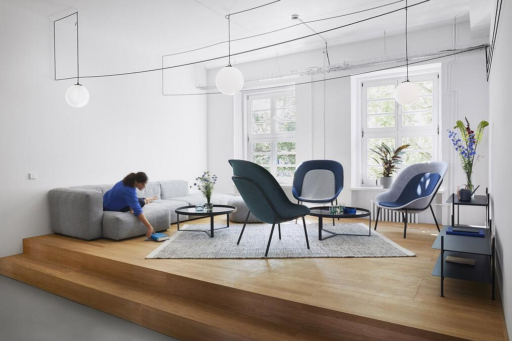 Nook lounge chairs by De Vorm in breakout area inside FULL NODE office