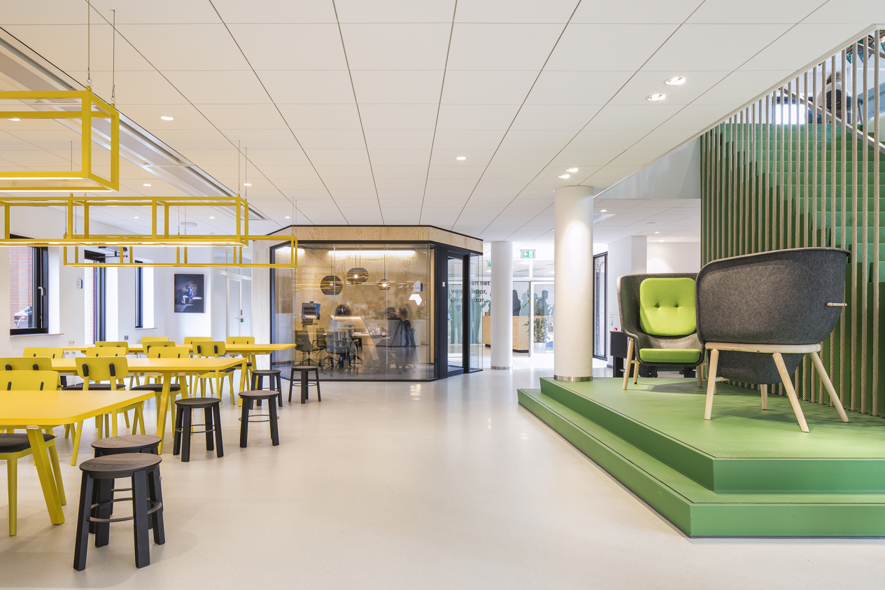 Menzis office in green featuring Pod Chairs and Clip Chairs by De Vorm
