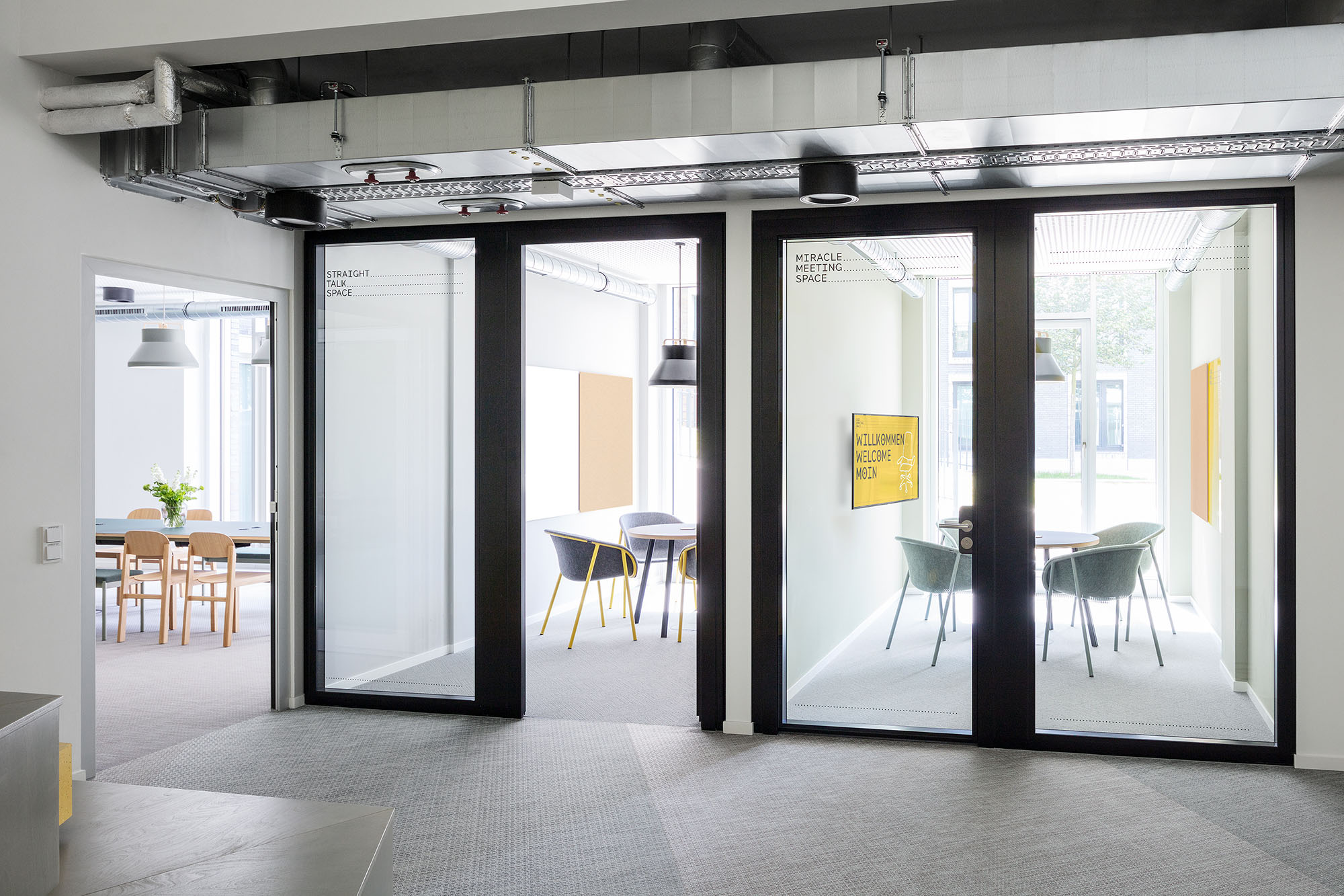 separate meeting rooms in the office
