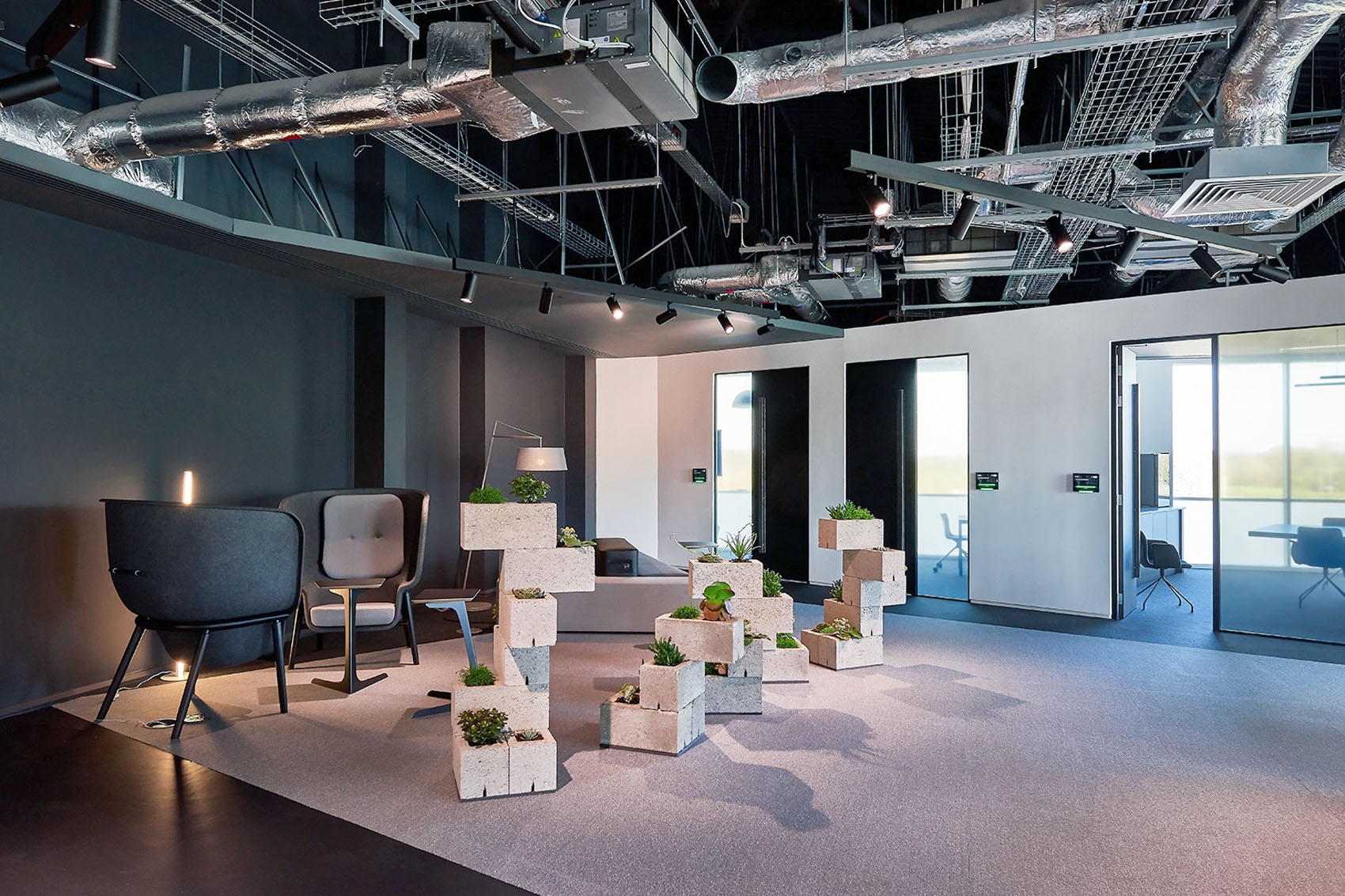 Gymshark office design by Oktra featuring Pod chairs by De Vorm